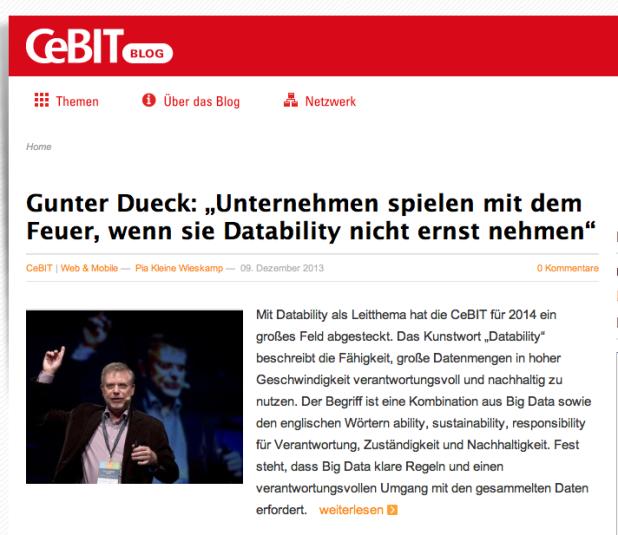 Das CeBIT-Blog mit einem Statement des von mir geschätzten Denkers Gunter Dueck.