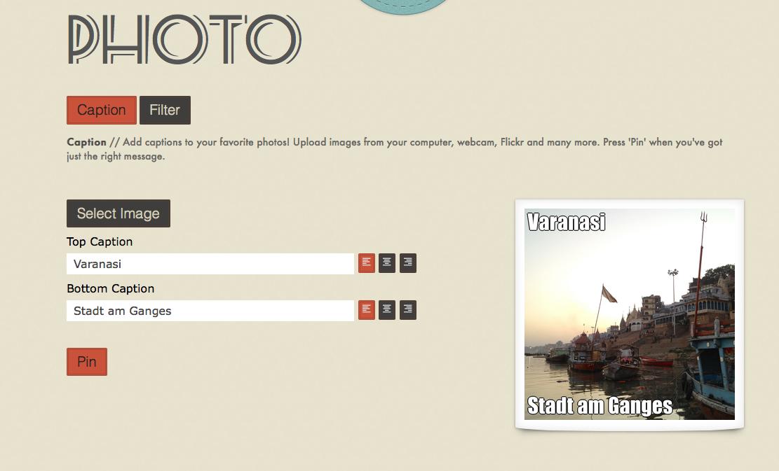 Fotos und Grafiken mit Text versehen - Pinstamatic