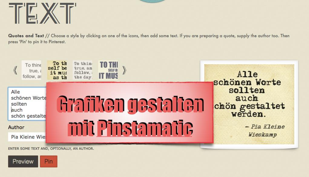 Texte grafisch gestalten mit Pinstamatic