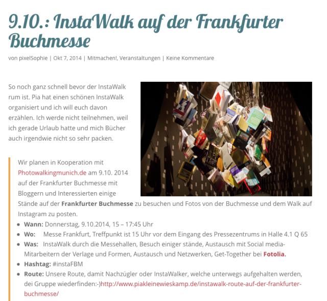 Blogroll: Instawalk auf der Frankfurter Buchmesse von Pixelsophie.