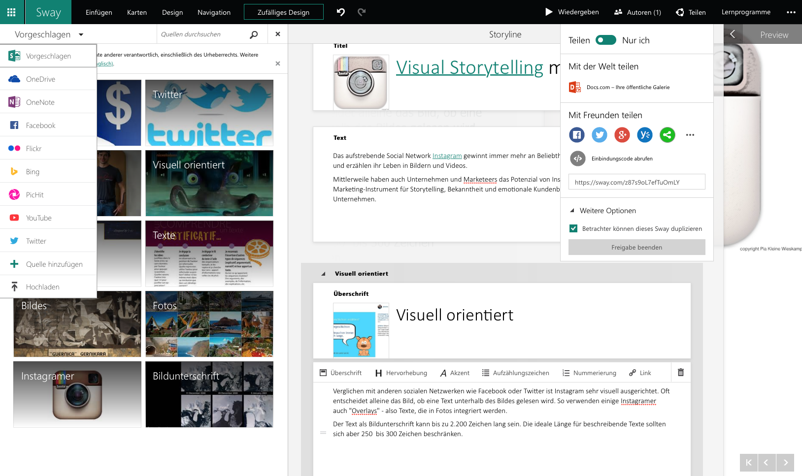 Sway Dashboard - Microsofts Storytelling-Tool