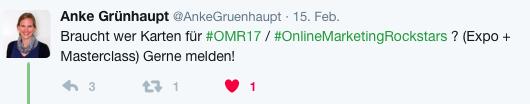 Tweet von Anke Grünhaupt,Talkwalker, zur OMR 2017.