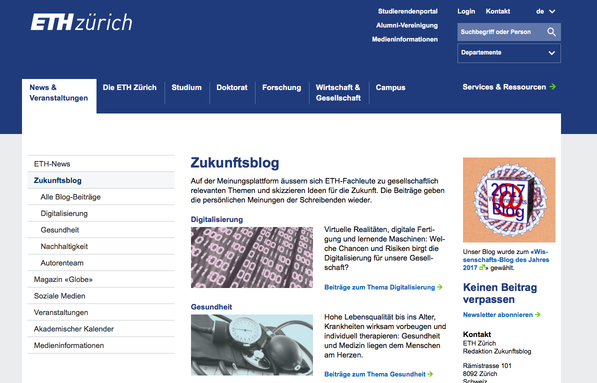 Als Beispiel zeige ich hier den Blog der Zukunfts-Blog der ETHZ in Zürich