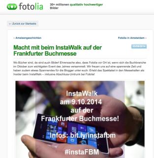 Artikel zum InstaWalk auf dem Fotolia Blog.
