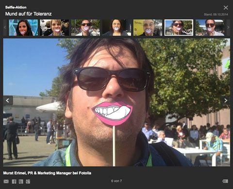 Mund auf für Toleranz - auch Murat Erimel von Fotiolia mach mit bei der Selfie-Aktion der ARD.