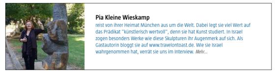 Vorstellung als Bloggerin beim Marco Polo travel magazine Januar 2015.