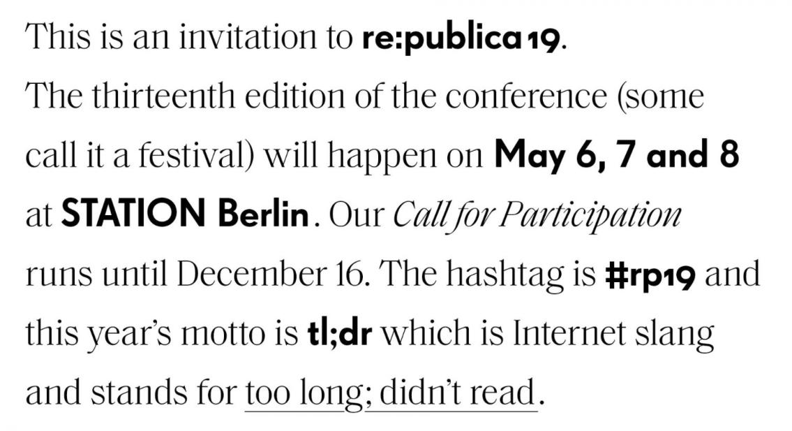 Das Blogger- und Social Media Event re:publica 2019 findet zum dreizehnten mal statt.