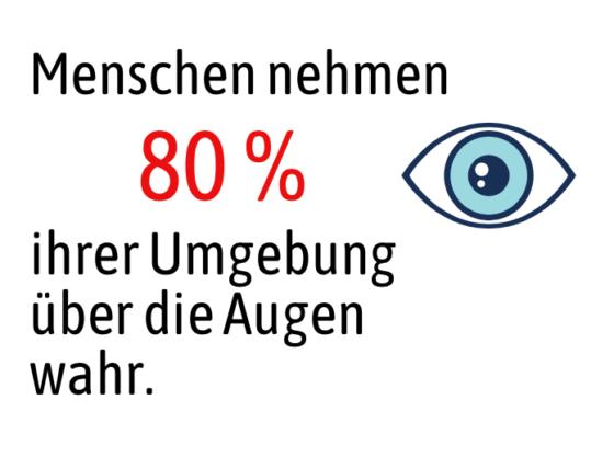 Menschen nehmen ihre Umwelt etwa zu achtzig Prozent mit den Augen wahr.