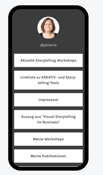 Linkliste für die Instagram-Bio