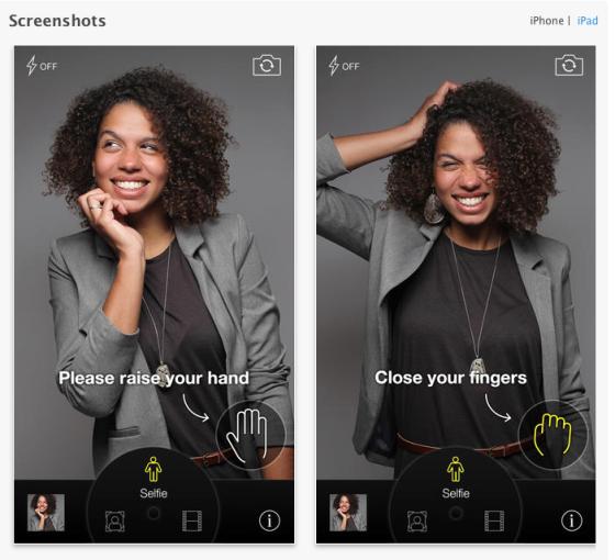 So einfach gehts: Die Selfie-App löst die Aufnahme mit einfachen Handgesten aus. Foto: CamMe