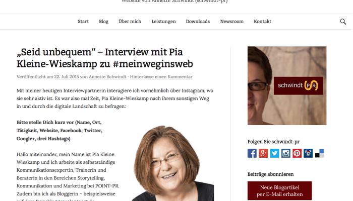 Interview zu #meinweginsweb mit Annette Schwindt